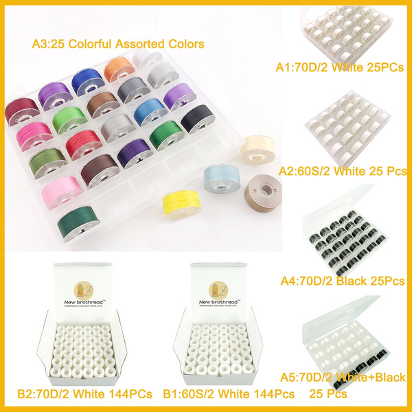 brothread 25pcs White 60S//2 90WT Prewound Bobbin Thread Plastic Size A SA156 for