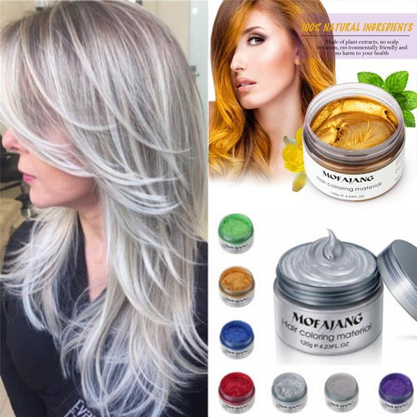 Unisex Farbe Haar Wachs Farbstoff Einmalige Formpaste Sieben Farben Erhältlich Blau Burgunder Oma Grau Grün Haarfärbemittel Wachs