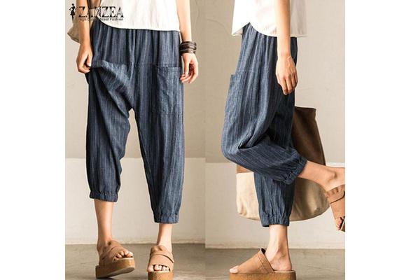 ZANZEA Women Plus Size Tapered Cotton Trousers Capris High Waist Harem Pants