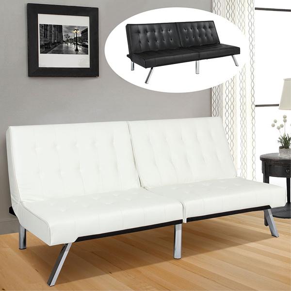 Modern Leather Futon Sofa Bed Fold Up
