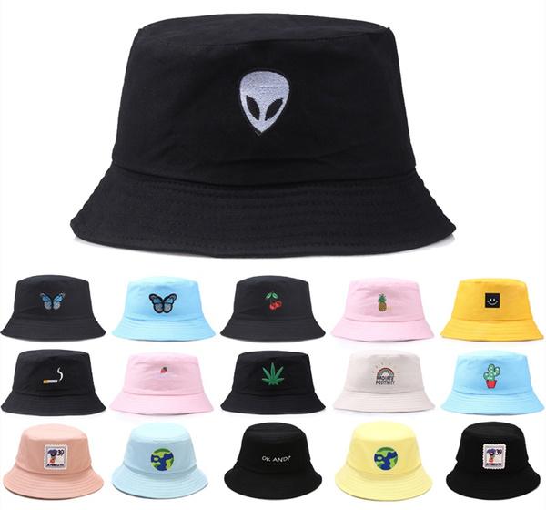 5b1170fbb Summer Fashion Bucket Hat Alien Unisex Fashion Bob Cap Hip Hop Gorro Men  Summer Caps Beach Sun Party Street Headwear Plain Hat Unisex Hip-Hop Hat ...