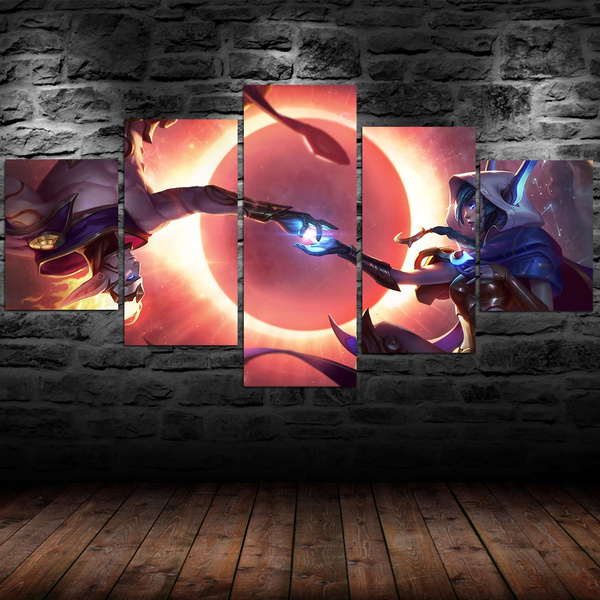 7 kind Popular game LOL Cosmic Dusk Xayah & Cosmic Dawn Rakan Fabric Canvas  Game Poster for Bedroom Livingroom Wall Oil Painting 5pcs/et