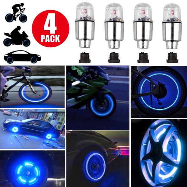 4 PCS Bicycle Light Wheel Tire Light LED Valve Cap Cycling Bike Motor Spoke Lamp
