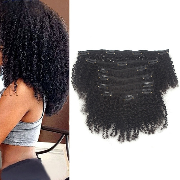 Afro Kinky Clip In Extensions Clip In Hair Extensions Brazilian Curly Clip In Extensions Black