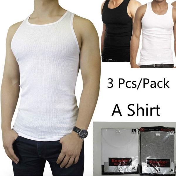 f34912d0e7d95 Fashion Mens 3 Pcs Pack 100% Cotton Tank Top A-Shirt Wife Beater ...