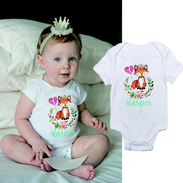 Custom First Birthday Shirt Fox 1st Outfit Girl Baby Raglan Sleeve Woodland