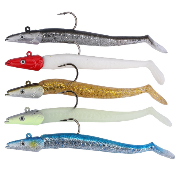 Goture Lead Head Jigs Soft Fishing Lures with Hook Sinking Swimbaits for  Saltwater and Freshwater (Pack of 5)