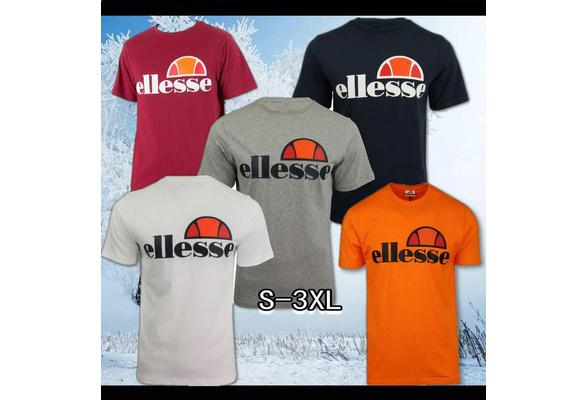 Men's T-shirt Cotton Black Ellesse Logo Printing t shirt Fashion Novelty Short Sleeve
