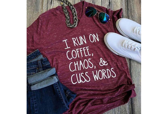 Letter Print I Run On Coffee Funny Mom Tops Summer T-shirt  Short Sleeve Cotton Loose Blouse Mother's Day Wea