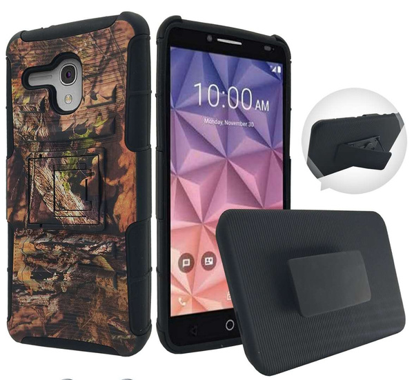 premium selection 5c350 54605 For GreatCall Jitterbug Smart Alcatel Fierce XL Case Phone Case Belt Clip  Holster 2 Kick stand Hybrid Armor Shock Bumper Cover (Camo)