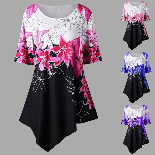 Fashion, Floral print, Shirt, asymmetric