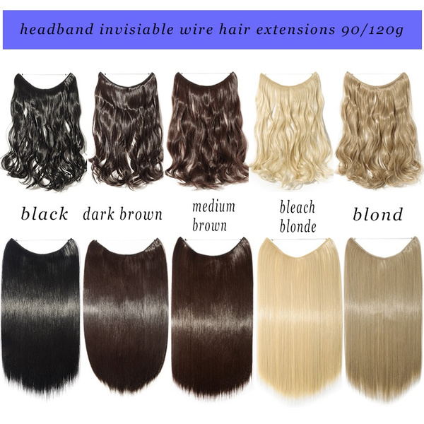 Wish Long Straight Curly Wire Headband One Piece No Clip In On