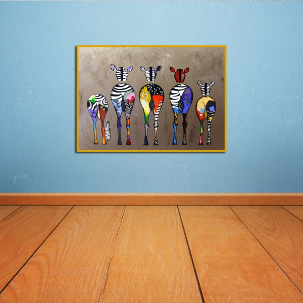 Home Living Room Wall Decor Zebras Oil Painting Picture Printed On Canvas