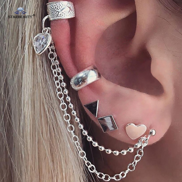 Starbeauty 5 Pcs Lot Triangle Square Heart Ear Piercing Helix Piercing Tragus Fake Nose Ring Pircing Chain Earrings Body Jewelry Family Gifts Wish