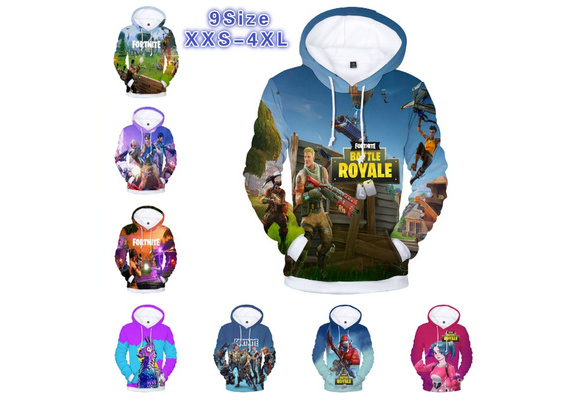 2018 New 3D Digital Color Printing Famous Game Fortnite Battle Royal Long Sleeve Inside Fleece Cotton Casual Pullover Hoodie Sweater Sweatshirt Jacket(XXS-4XL)