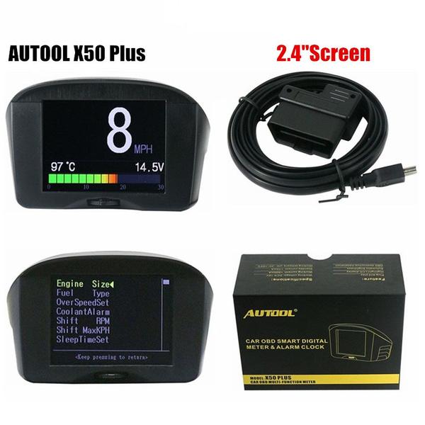 AUTOOL X50 Plus 2 4 Inch Screen Multi-Function Car OBD Smart Digital Meter  & Alarm Fault Code Water Temperature Gauge Voltage Speed Meter Display Trip