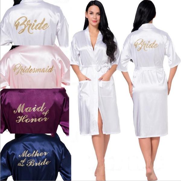 af3df1fbc3c3d Robe Bride and Bridesmaid Sleepwear Bridal Dress Nightwear Women Bathrobe  Nightdress Home Clothes Nightgown 11 Colors
