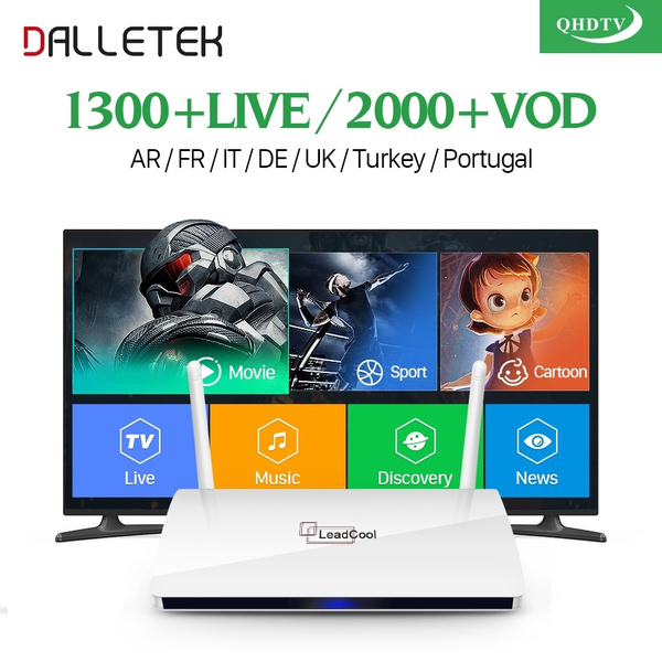 Leadcool QHDTV IPTV Box 1 Year Subscription Europe French Italia 1300  Channels Dalletektv Android 6 0 TV Box Arabic IPTV Top Box