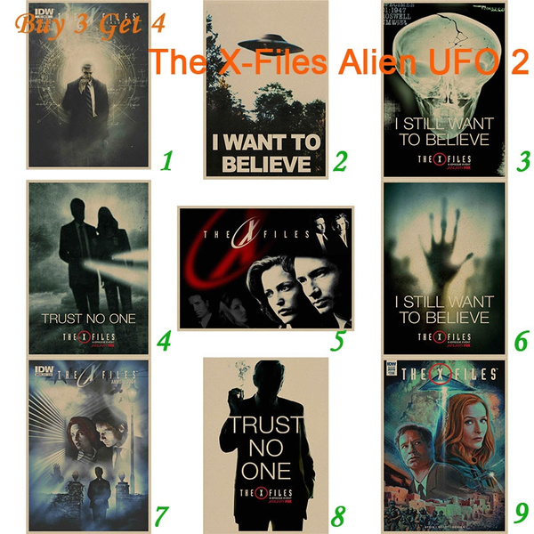 Vintage Movie X-Files I Want To Believe Ufo Alien Poster Bar Home Decor Wall Art