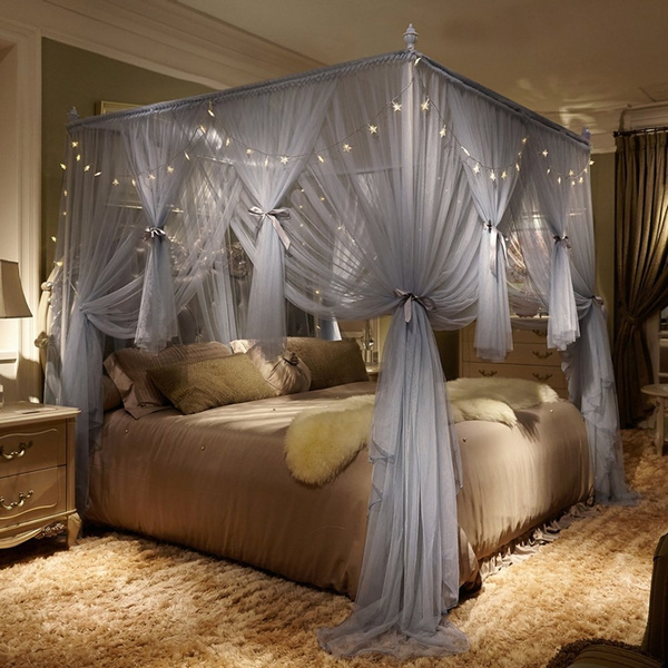 4 Corner Poster Princess Bed Curtain Canopy Mosquito ...