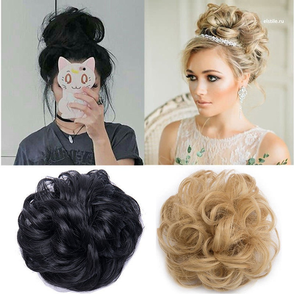 Wish 100 Natural Curly Messy Bun Hair Piece Scrunchie Extra Thick
