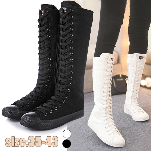 Fashion Knee High Canvas Boot Flat Lace