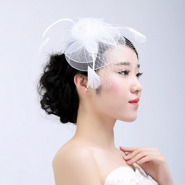 Fashion Women/'s Fascinator Mesh Hat Ribbons And Feathers Wedding Party Hat