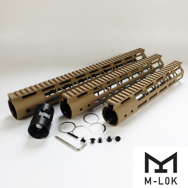 10,12,15 inch M-Lok Handguard Free float Rail fit AR15 Tan /FDE color  Steel/Aluminum barrel nut