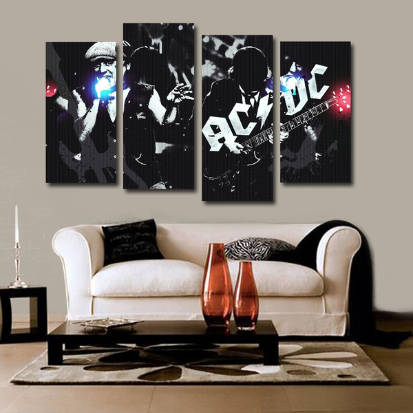 4 Pcs/set Rock Music Living Room Wall Posters ACDC Live Bedroom Wall  Decorative Poster Picture canvas wall art painting
