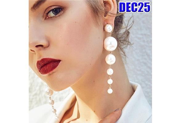 Trendy Elegant Created Big Simulated Pearl Long Tassel Earrings Pearls String Statement Dangle Earring For Wedding Women ijoux Jewelry Party Valentines Day Gift Fashion Accessories