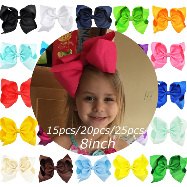 15PCS Girls 6/'/' Big Hair Bows Boutique Alligator Clip Grosgrain Ribbon Headband