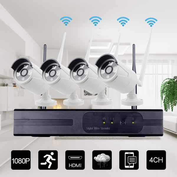 Internet Security Camera 4 Channel HD 960P Wireless WiFi NVR Network Video  Recorder + 4pcs 960P WiFi IP Camera Support Phone Control Motion Detection