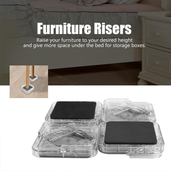 8pcs Transparent White Furniture Leg Risers Non-slip Riser for Table Bed Chairs
