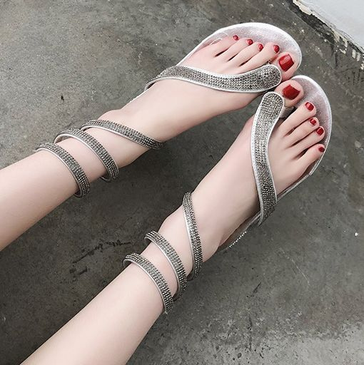 Women Rhinestone Flat Sandals Fashion