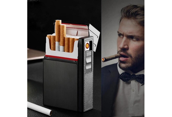 Portable Cigarette Box With Lighters Windproof USB Smoking Cigarettes Box LF