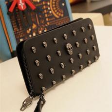 wallet women, skull, porte feuille, leather