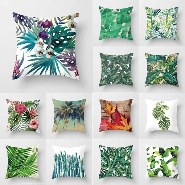 32 Styles 18x18 Tropical Banana Leaves Cushion Cover Palm Leaf Pillow Cases Linen Car Decorative Pillowcase Large Floor Sofa Home Throw Pillows
