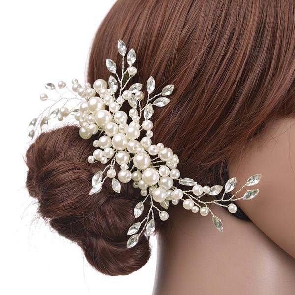 ae8031f0 Boda Accesorios de pelo Clips romántico cristal perla flor horquilla  rhinestone tiara nupcial corona Pasadores novia Bisutería para pelo