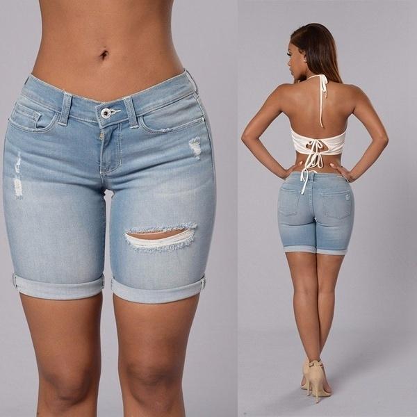 Women High Waist Hot Pants Ripped Short Mini Jeans Denim Casual Shorts Fashion