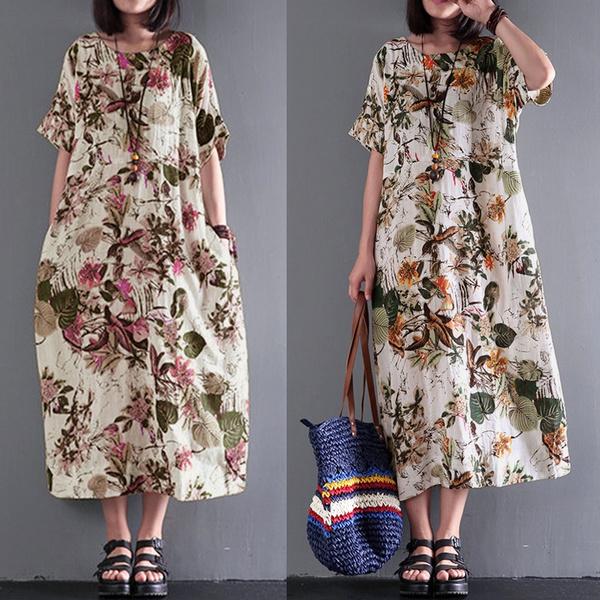S-5XL Women Short Sleeve Round Neck Summer T-Shirt Dress Kaftan Maxi Dress Plus