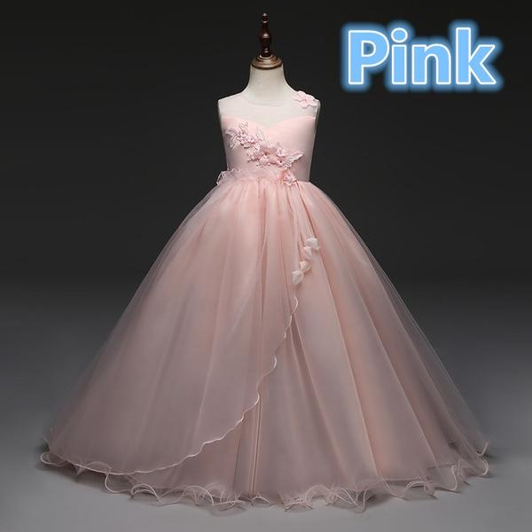 Wish | Teen Girls Long Chiffon Dress Fashion Kids Flower Girl ...