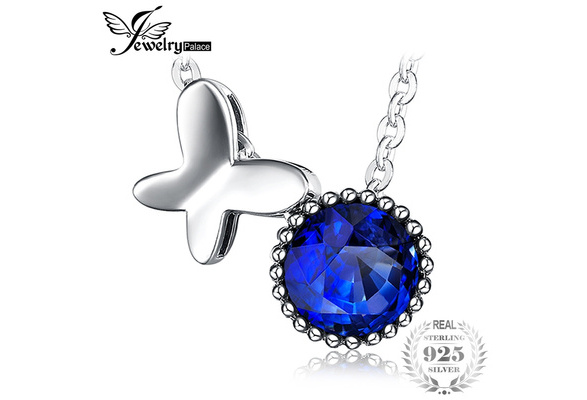 JewelryPalace Butterfly 0.9ct Created Blue Spinel Pendant Necklace With 18 Inches 45cm Chain 925 Sterling Silver