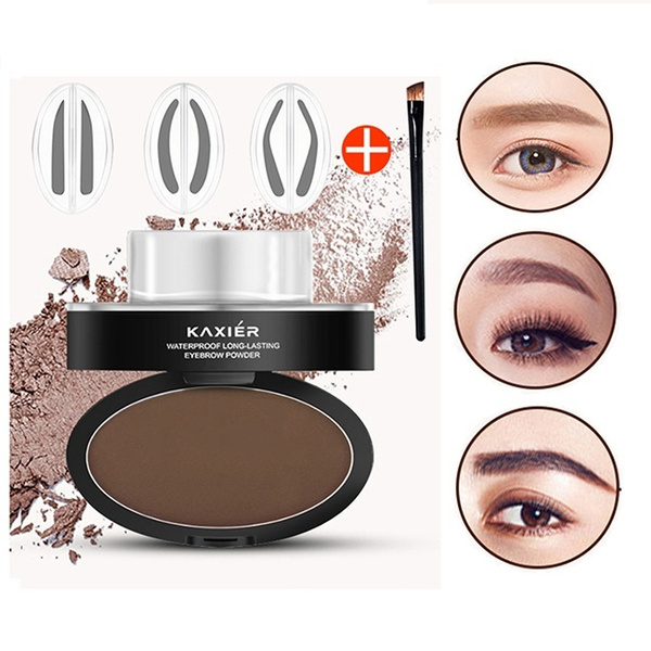 Eyebrow Powder Stamper Seal Kit Eyebrow Kit Powder Waterproof Makeup  Eyebrow Tinting Coloring Kit,Dark Brown