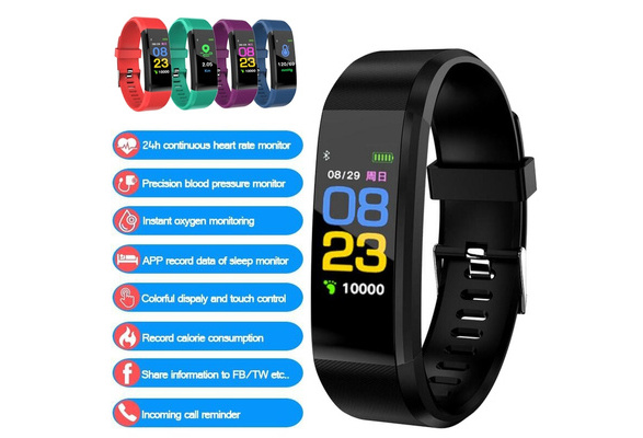 NEW 115PLUS Color Screen Smart Band Support Heart Rate Blood Pressure  Calorie Step Monitoring IP67 Waterproof Fitness Bracelet