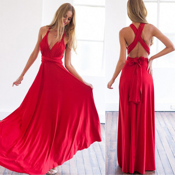 ff657ba8388b Sexy Women Multiway Wrap Convertible Boho Maxi Club Red Dress ...