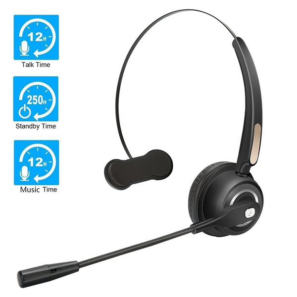Truck Driver Headset Bluetooth Phone Headset With Microphone 12hrs Talk Time Office Bluetooth Headset With Noise Canceling Bluetooth Headphones For Cell Phone Computer Car Call Center Support Music Wish