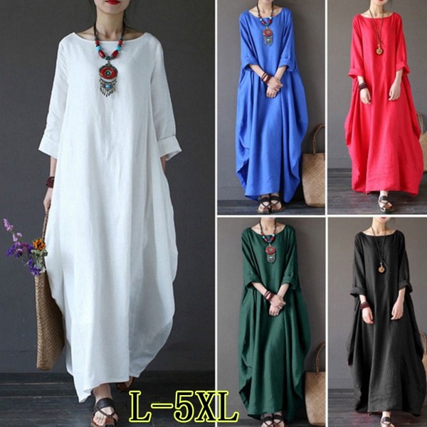 edd1675ac5245 5 Colors Women BOHO Long Sleeve Loose Cotton Linen Summer Sundress Dresses  (Plus Size:L-5XL)