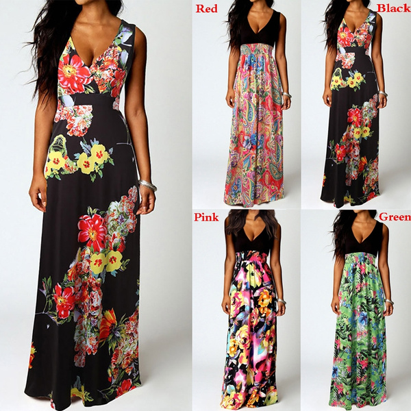 69c15fc978a24 Women Boho Maxi Summer Beach Long Cocktail Party Floral Dress Perfect  Present