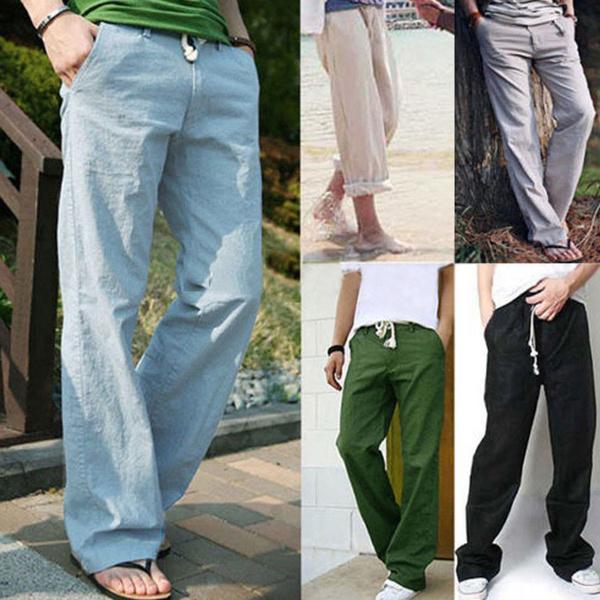 Mens Linen Loose Pants Beach Drawstring Yoga Casual Long Slacks Trousers New