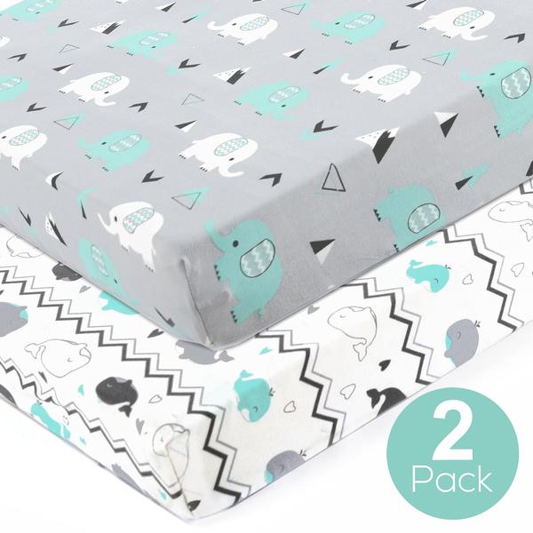 Pack n Play Stretchy Fitted Playard Sheets Set Portable Mini Crib Pack n Play Sheets Convertible Playard Mattress Pad Cover Set Soft 2 Pack